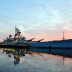Battleship NJ at dusk