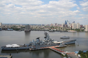 Modern aerial image of the Battleship New Jersey Museum and Memorial