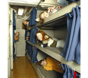 Kids can sleep in the bunks where the sailors slept in an overnight encampment