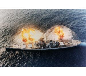 "All 3 16"" gun turrets firing"