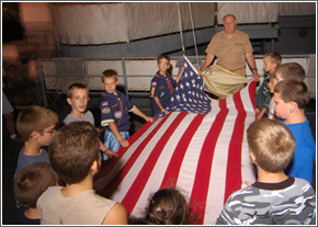Overnight Encampment Scouts with American Flag