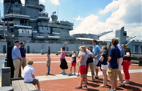 Group Tour on the Pier of the Battleship NJ