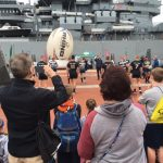 Army and Navy Rugby Teams Run Drills, Meet Students on the Battleship Pier