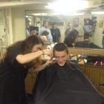 Buzz cuts in barber shop