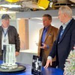 Crystal Sculpture of Champagne Bottle Holder that Christened USS New Jersey Unveiled
