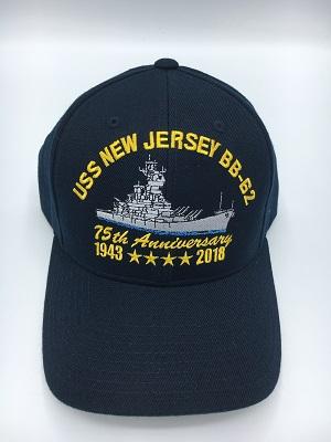 6d5c4384d50 75th Anniversary USS New Jersey Cap Blue w Plain Bill - Battleship ...