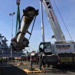 16-inch Gun Barrel Placed Landside at the Battleship