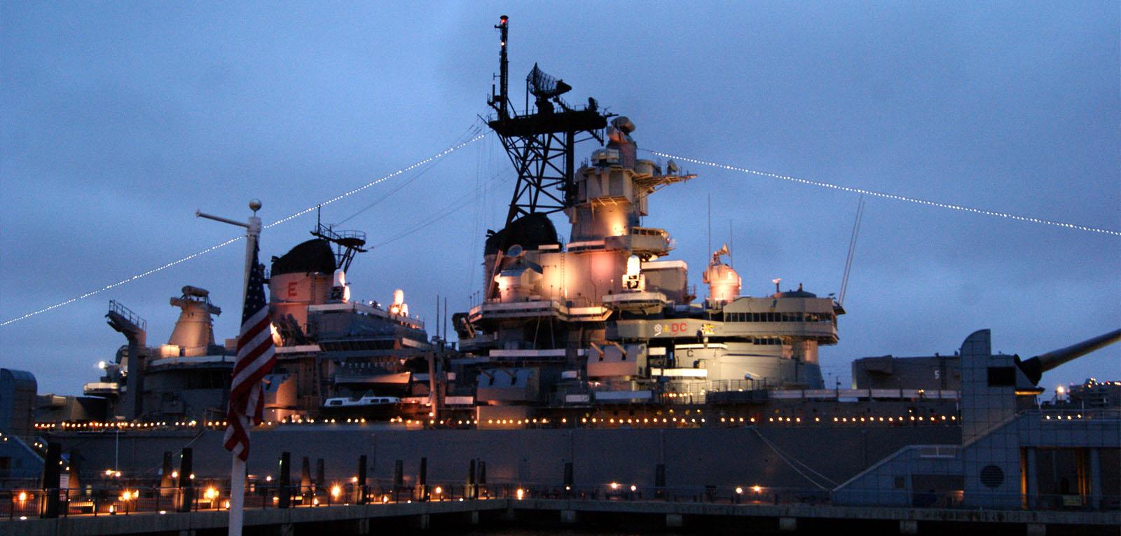 Battleship New Jersey at dusk