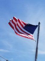 Battleship Flown American Flag