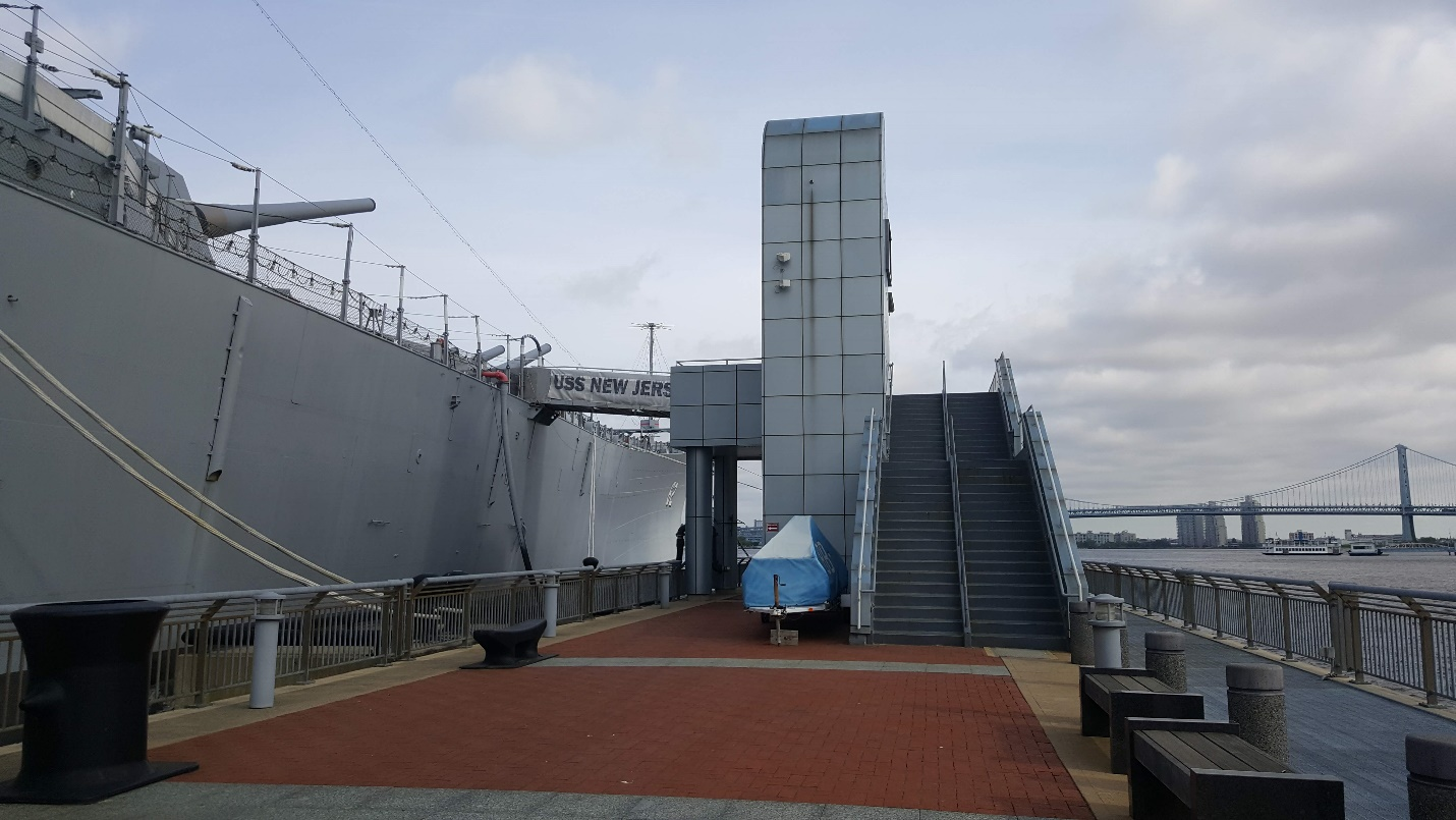 Stairs and elevators from the pier to the battleships brow.