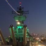 Battleship Lit Green for the Eagles Opener