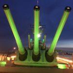 Battleship Lit Green for the Eagles