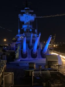 Battleship Lit Blue to Salute Healthcare Workers @ Battleship New Jersey