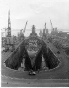BB-62 in drydock at Philadelphia prior to Vietnam recommissioning