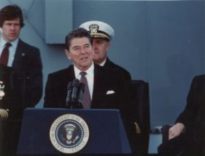 President Reagan recommissioning the ship in 1982